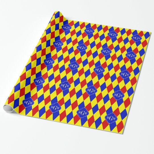 Red Yellow Blue Harlequin Quatrefoil 3 Monogram