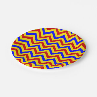 Red, Yellow, Blue LG Chevron ZigZag Pattern 7 Inch Paper Plate