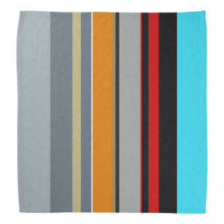 Red Yellow Blue Silver Multicolor Striped Pattern Bandana