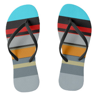 Red Yellow Blue Silver Multicolor Striped Pattern Flip Flops