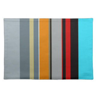 Red Yellow Blue Silver Multicolor Striped Pattern Placemat