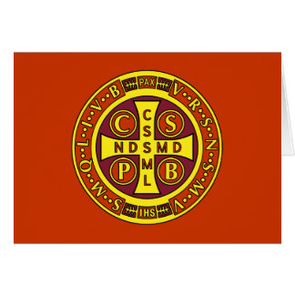 red yellow clear St Benedict Medal Card