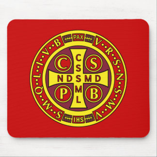 red yellow clear St Benedict Medal Mouse Pad