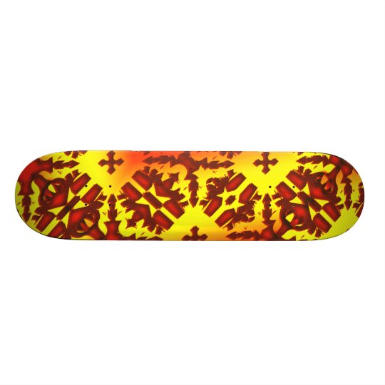 Red Yellow Cross Pattern Skate deck