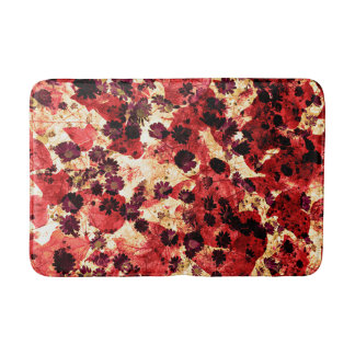 Red yellow daisy flower pattern abstract design bathroom mat
