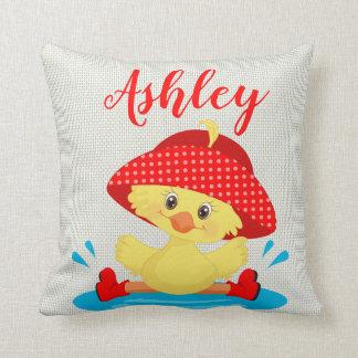 Red Yellow Duck Duckling Rain Hat Boot Rainy Day Throw Pillow