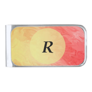 Red Yellow Flame Texture Background Silver Finish Money Clip