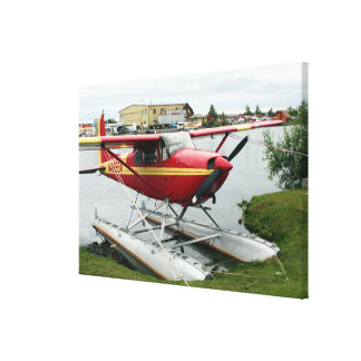 Red & Yellow Float Plane, Lake Hood, Alaska Canvas Print