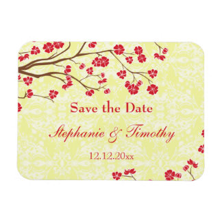 Red + yellow floral damask save the date magnet