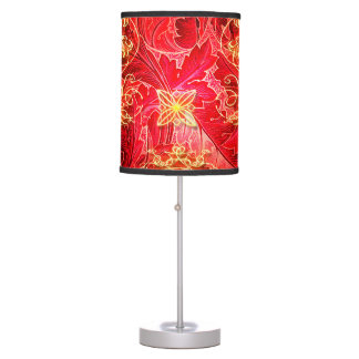 Red, yellow floral design table lamps