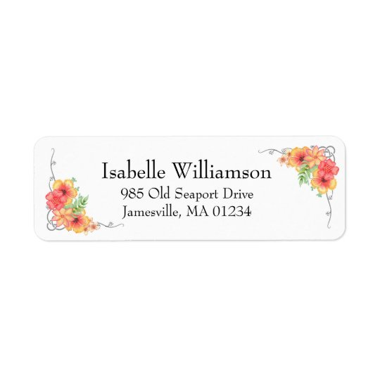 Red Yellow Floral Return Address Labels