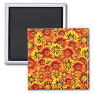 Red yellow flower pattern square magnet