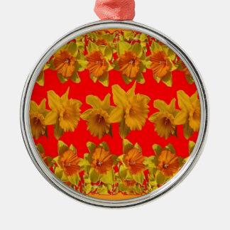 RED-YELLOW GARDEN DAFFODILS ART METAL ORNAMENT