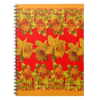 RED-YELLOW GARDEN DAFFODILS ART NOTEBOOK