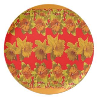 RED-YELLOW GARDEN DAFFODILS ART PLATE