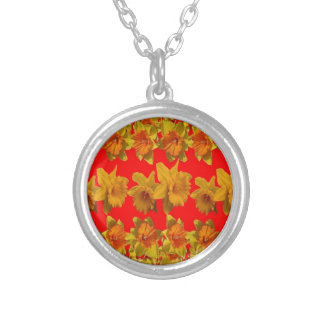 RED-YELLOW GARDEN DAFFODILS ART SILVER PLATED NECKLACE
