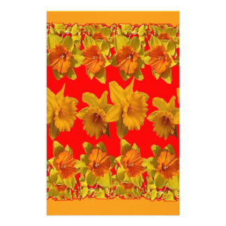RED-YELLOW GARDEN DAFFODILS ART STATIONERY