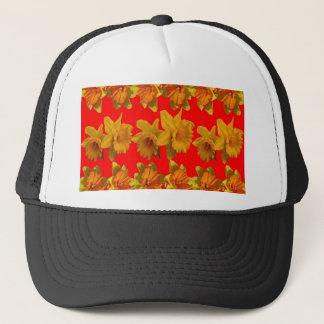 RED-YELLOW GARDEN DAFFODILS ART TRUCKER HAT