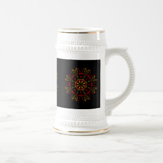 Red Yellow Gold Black Abstract Art Kaleidoscope 18 Oz Beer Stein