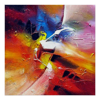 Red Yellow Green Blue Abstract Painting Poster