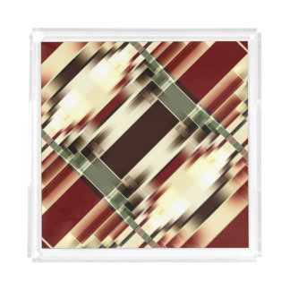 Red Yellow Green Brown Geometrical Pattern Acrylic Tray