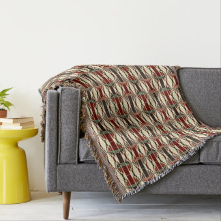 Red Yellow Green Brown Geometrical Pattern Throw Blanket
