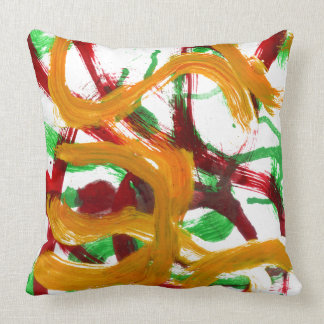 Red Yellow Green Strokes Throw Pillow