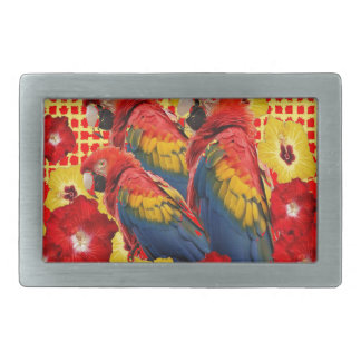 RED-YELLOW HIBISCUS & MACAWS BELT BUCKLE