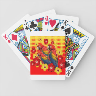 RED-YELLOW HIBISCUS & MACAWS BICYCLE PLAYING CARDS