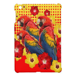 RED-YELLOW HIBISCUS & MACAWS iPad MINI COVER
