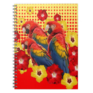 RED-YELLOW HIBISCUS & MACAWS NOTEBOOK