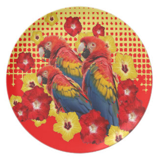 RED-YELLOW HIBISCUS & MACAWS PLATE