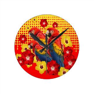 RED-YELLOW HIBISCUS & MACAWS ROUND CLOCK