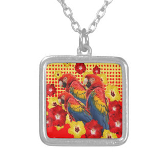 RED-YELLOW HIBISCUS & MACAWS SILVER PLATED NECKLACE