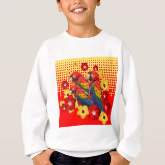 RED-YELLOW HIBISCUS & MACAWS SWEATSHIRT