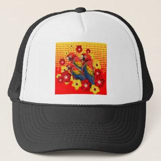 RED-YELLOW HIBISCUS & MACAWS TRUCKER HAT