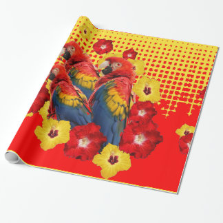 RED-YELLOW HIBISCUS & MACAWS WRAPPING PAPER