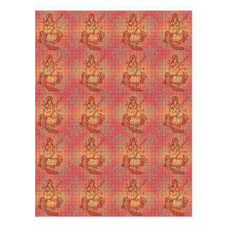 red yellow hindu Goddess Saraswati Wisdom India Postcard