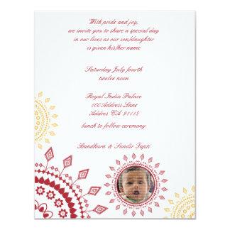 """Red & Yellow Namkaran Baby Naming Invitations 4.25"""" X 5.5"""" Invitation Card"""