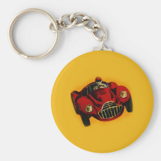 Red Yellow Old Auto Racing Car Basic Round Button Keychain