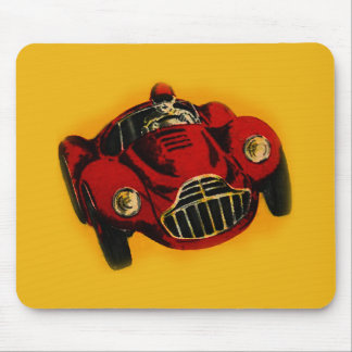 Red Yellow Old Auto Racing Car Mouse Pad