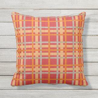 Red Yellow Orange Diamond Argyle Plaid Pattern Throw Pillow