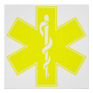 Red Yellow Orange White Nurse EMS Star of Life Poster