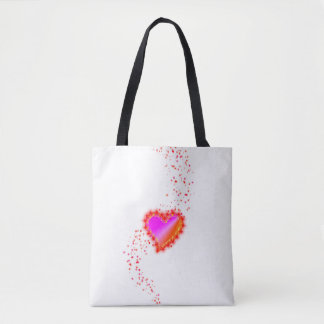 Red Yellow Pink Rainbow Heart with Stars Tote Bag