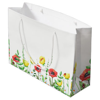 Red & Yellow Poppies Floral Design Large Gift Bag