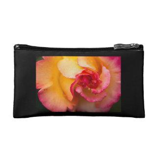 Red & yellow rose flower makeup bag