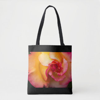 Red & yellow rose flower tote bag