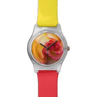 Red & yellow rose flower watch