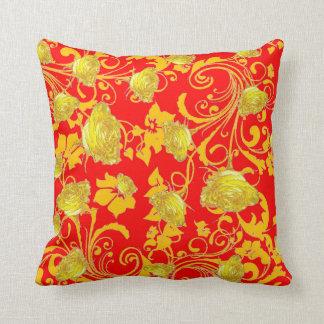 RED & YELLOW ROSE SCROLLS GARDEN ART THROW PILLOW