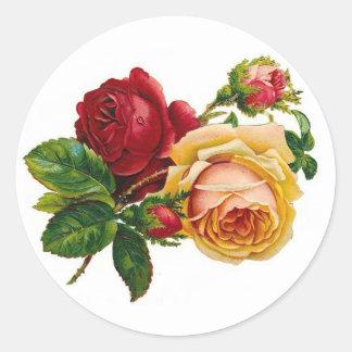 Red Yellow Roses Round Sticker